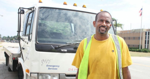 Ibrahim Salih owns a towing service in Greensboro. Many of his clients are members of the refugee community.