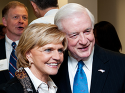 Former N.C. Governors Beverly Perdue, left, and Jim Hunt