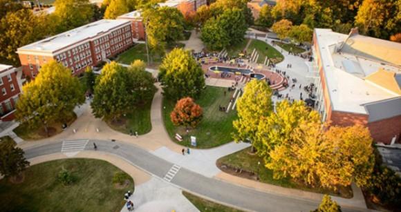 bird's eye view of campus