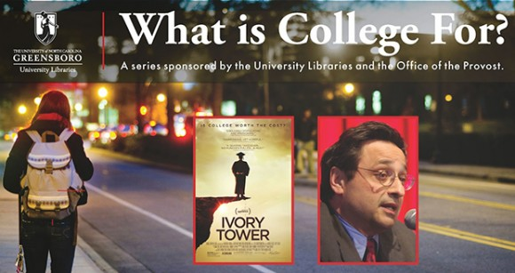 On March 26, the University Libraries and the Provost's Office will host a screening and discussion of Ivory Tower, the 2014 documentary film by Andrew Rossi.