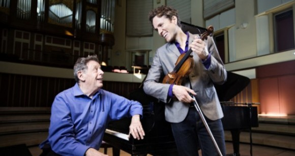 Philip Glass, one of the most celebrated composers of the modern era, performs with violinist Timothy Fain Tuesday, April 14, at UNCG. The performance begins at 8 p.m. in Aycock Auditorium.